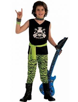 Boy's Rock Star 80's Musician Fancy Dress Costume Front View