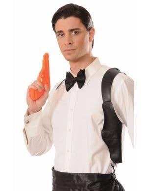 Black Shoulder Holster with Orange Gun Costume Accessory