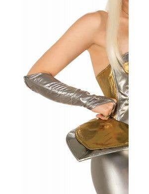 Space Girl Silver Holographic Fingerless Gloves