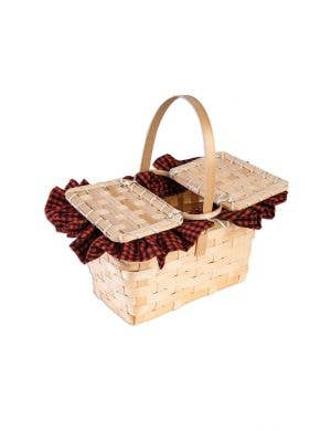 Red Riding Hood Gingham Wicker Basket Costume Accessory