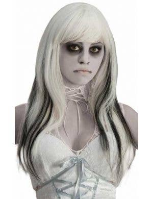 Ghostly Spirits Women's White and Black Halloween Wig