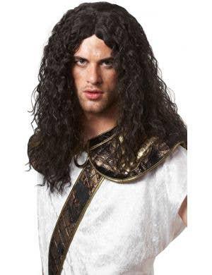 Dark Barbarian Warrior Men's Curly Black Costume Wig