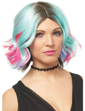 Lollipop Pastel Rainbow Women's Short Wavy Costume Wig