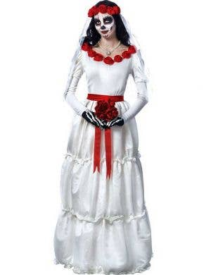 Women's Deluxe Day of The Dead Wedding Dress Costume Main Image