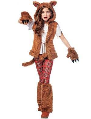 Girls Werewolf Halloween Costume Front View