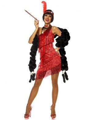 Dazzling Red 1920s Womens Flapper Costume Dress