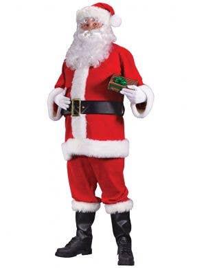 Men's Plus Size Red Felt Santa Claus Christmas Costume - Main Image