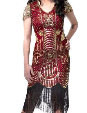 1920's Deluxe Burgundy Red and Gold Sequinned Women's Gatsby Costume