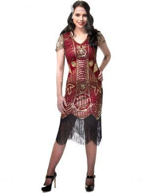 Women's Burgundy Red and Gold Sequined Gatsby Dress Costume Main Image