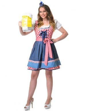 Red and Blue Check Mid Length Beer Wench Oktoberfest Costume for Women Front Image