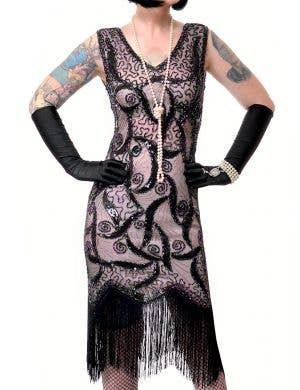 Glamorous Salmon Pink and Black Sequinned Women's 1920's Gatsby Costume