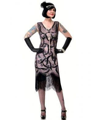 Women's Deluxe Salmon Pink and Black Roaring 20s Great Gatsby Dress Up Costume - Main View