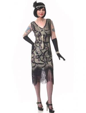 Light Olive Green and Black Women's Deluxe Sequinned Gatsby Costume Dress - Main View