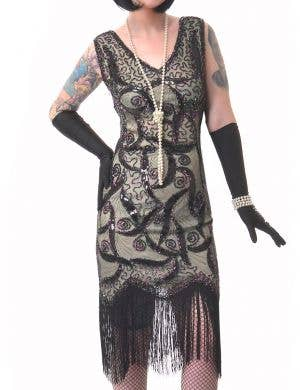 Olive Green and Black Sequin Plus Size Women's 1920's Gatsby Costume