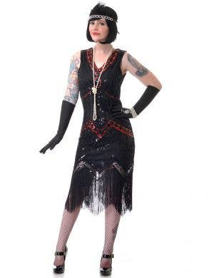 Women's Deluxe Black and Red Sequinned 1920s Gatsby Dress Costume - Main View