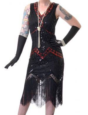 1920's Deluxe Women's Black Gatsby Costume with Red Sequins
