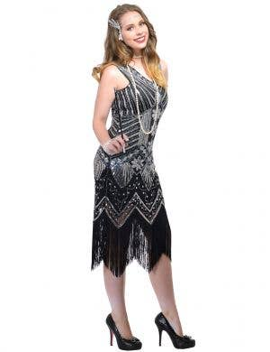 Women's Plus Size Black and Silver Sequin Gatsby Costume Dress Front Image