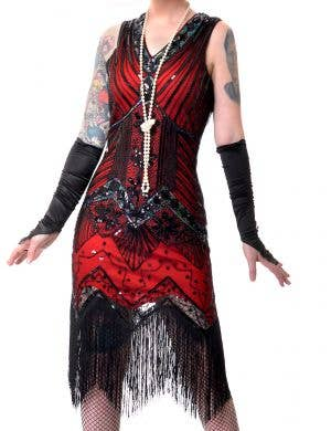 Iridescent Red and Black Deluxe 1920's Women's Plus Size Gatsby Costume