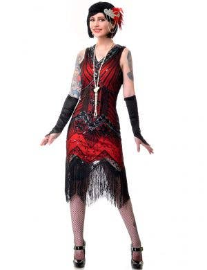 Plus Size Women's Deluxe Red and Black Iridescent Sequins Great Gatsby Dress Up Costume - Main View