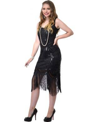 Women's Deluxe Black Sequined Gatsby Plus Size Costume Dress Front Image