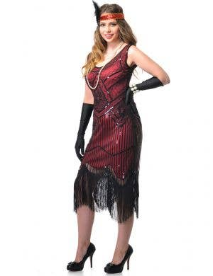 Women's Deluxe Red and Black Plus Size Gatsby Dress Front Image