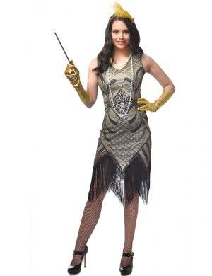 Nude and Gold Sequinned Women's Gatsby Dress With Fringing Main Image