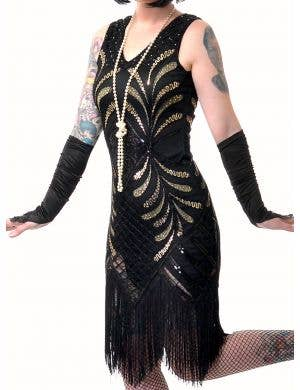 1920's Deluxe Black and Gold Sequinned Women's Plus Size Gatsby Costume