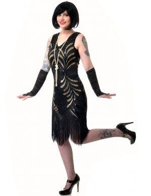 Plus Size Women's Deluxe Mid Length Black and Gold Gatsby Dress Up Costume - Main View