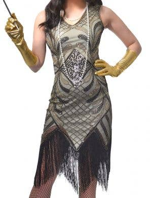 Roaring 20's Ivory and Gold Sequinned Women's Plus Size Gatsby Costume