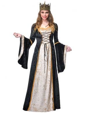 Long Cream and Black Deluxe Medieval Queen Costume Dress for Women
