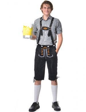 mens deluxe black and white oktoberfest fancy dress costume - main image