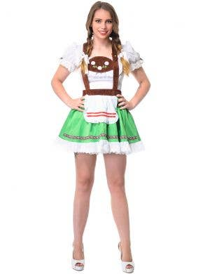 Bavarian Beer Wench Womens Short Green and White Oktoberfest Costume Dress Front Image