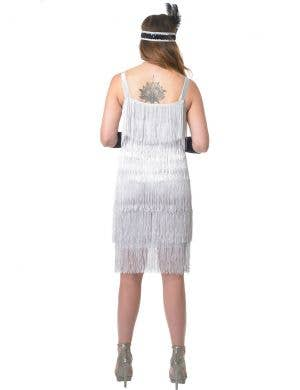 Jazzy 1920's Women's Silver Fringed Flapper Costume