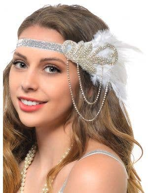 Deluxe 1920s Silver and White 4 Piece Gatsby Accessory Set
