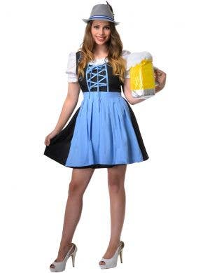 Blue and Black Mid Length Women's Beer Wench Oktoberfest Costume Front Image