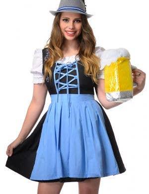 Bavarian Beer Wench Women's Blue Plus Size Oktoberfest Costume