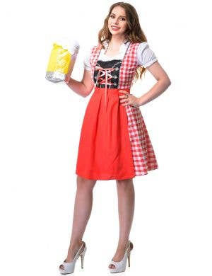Red and White Checkered Women's Beer Wench Oktoberfest Costume Front Image
