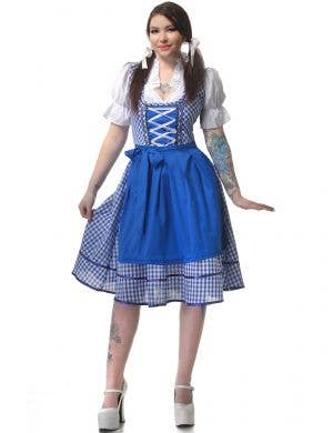 Blue and White Women's Deluxe Oktoberfest Dress Up Costume - Main View
