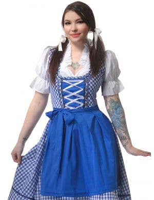 Long Blue and White Chequered Women's Oktoberfest Costume