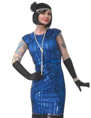 Ritzy Royal Blue Sequinned Deluxe Women's 1920's Gatsby Costume