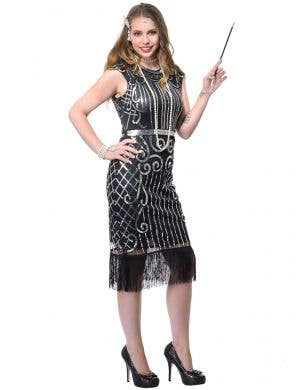 Women's Deluxe Plus Size Silver Sequin Gatsby Costume Dress Front Image