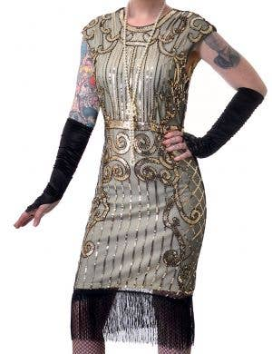 Ritzy 1920's Plus Size Women's Gold Sequinned Gatsby Costume
