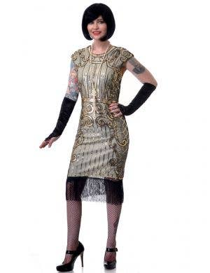 Ritzy Gatsby Plus Size Women's Nude and Gold 1920's Flapper Fancy Dress Costume - Main View