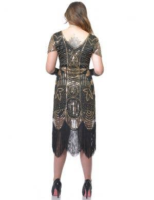 Roaring 20's Deluxe Black and Gold Women's Gatsby Dress Costume