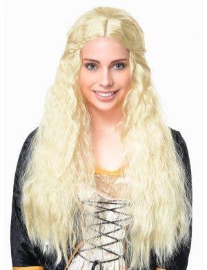 Long Wavy Blonde Women's Braided Costume Wig