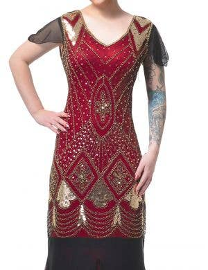 Long Deluxe Maroon and Gold 1920's Hollywood Gatsby Women's Costume