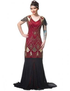 Deluxe Women's Maroon, Gold and Black Elegant 1920's and 30s Movie Star Gown Costume - Main Image