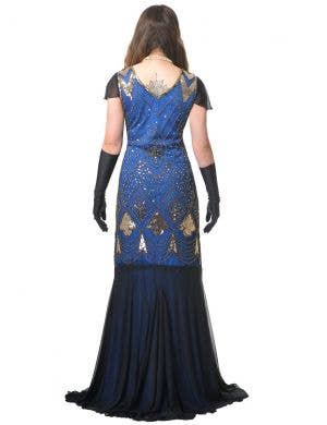 Deluxe Long Blue 1920s Women's Hollywood Gatsby Costume