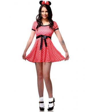 Womens' Red and Black Polka Dot 1950's Housewife Dress Up Costume
