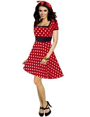 Womens Red Polka Dot 1950s Costume Dress